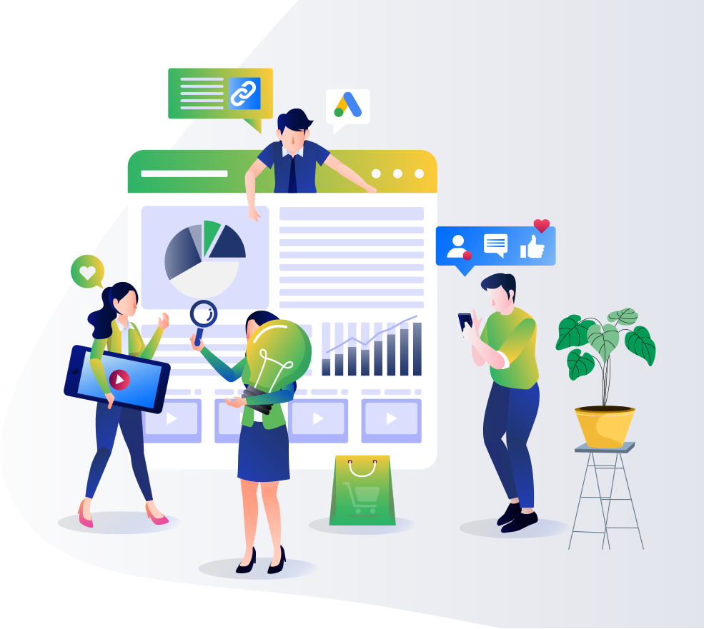 Illustration of specialists working on digital marketing strategies on landing page of website