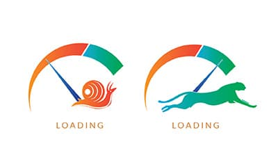 Illustration of website speed optimization compared with snail and cheetah