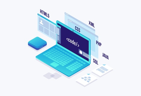 Vector illustration of concepts, programming and coding involved in web development.