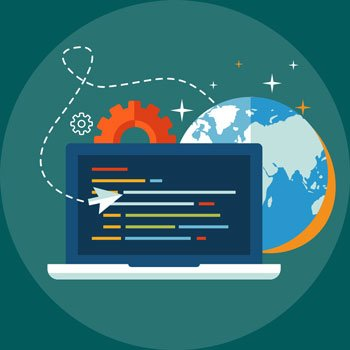 Illustration of Web Development concepts to build a strong responsive Website