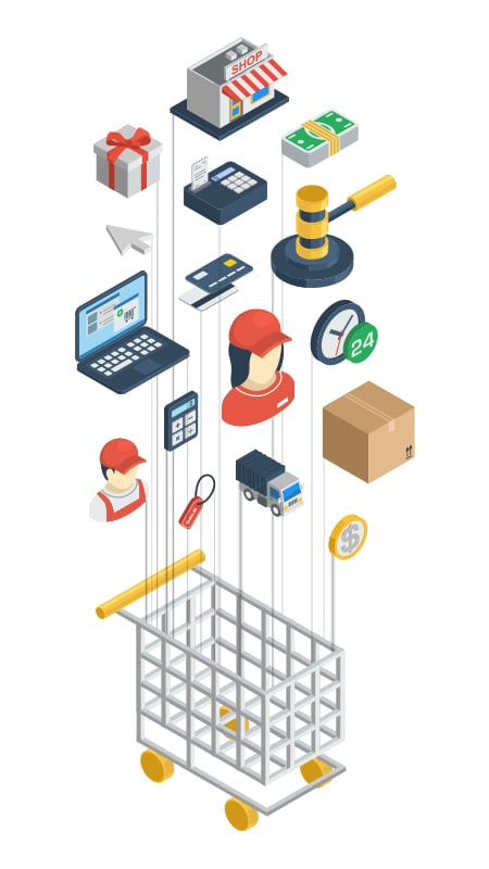Illustration of services linked with the ecommerce website development