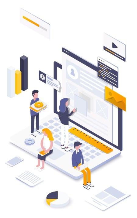 Illustration of web development concepts for desktop and mobile website