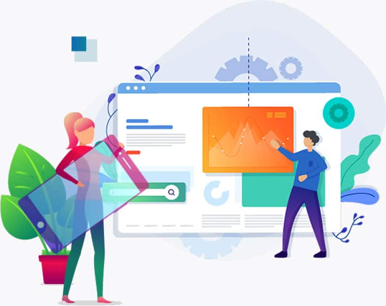 Illustration of web designers designing futuristic,cross platform compatible websites