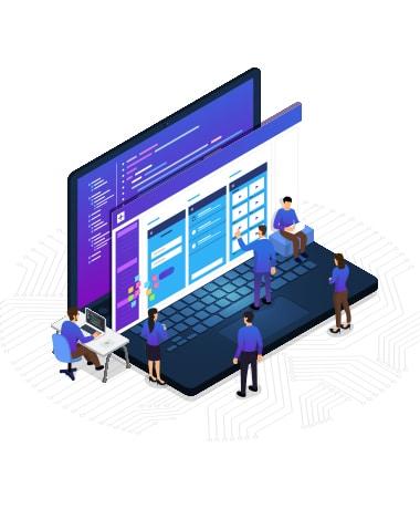 Illustration of web designers working to create corporate webdesign