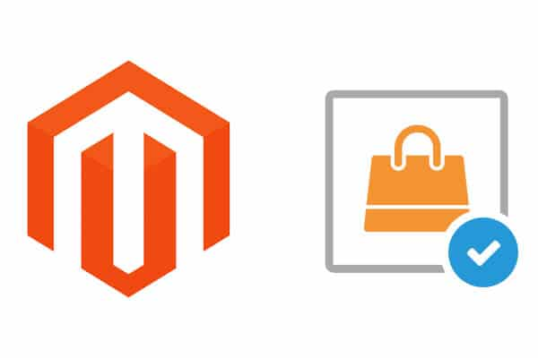 Logo of Magento ecommerce web design and image of  a checked bag