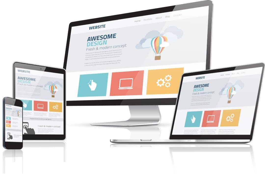 Representation of responsive website design rendered in different platforms like desktop, tablet & smartphone