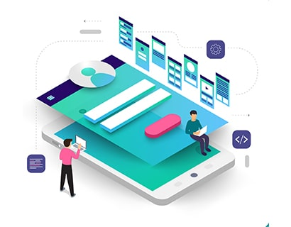Interpretation of designers creating UI & UX design for mobile website