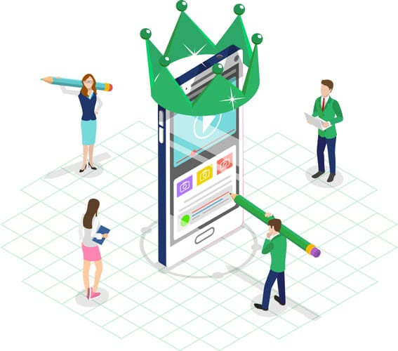Vector illustration of content writing services empower website and impact business